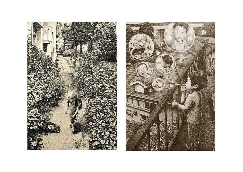 町田市展佳作賞『夏の終わりに』(右) 二科展入選『しゃぼん玉』(左)